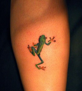 Cute frog green tattoo