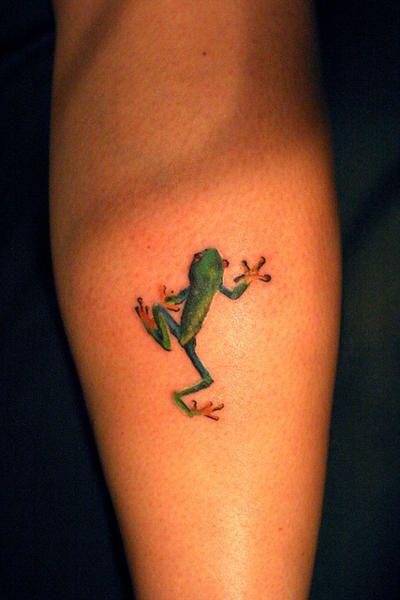 Cute frog green tattoo