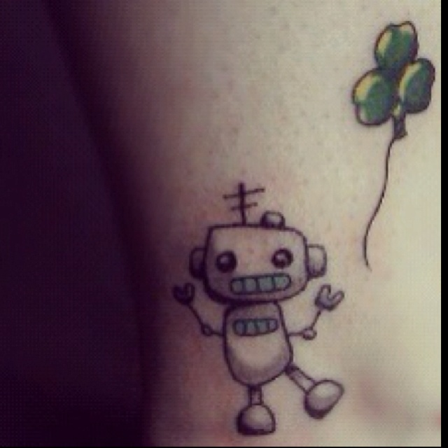 Cute green lovely robbot tattoo