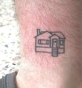 Cute small house tattoo