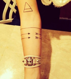 Cute tribal geometric arm tattoo