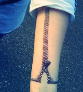 Cute women's zip tattoo