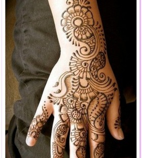 Flowers and Henna and Mehndi design tattoo