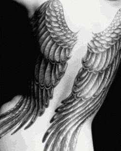 Full back angel tattoo on shoulder