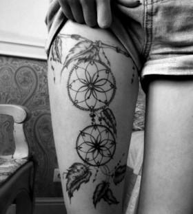 Full black girl tattoo on leg