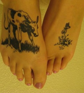 Funny foots cow tattoo