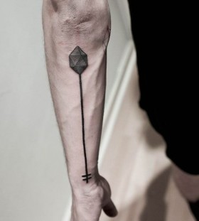 Funny one geometric arm tattoo