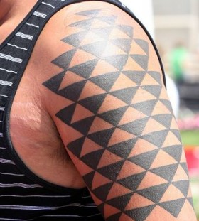 Geometric black geometric shoulder, back tattoo