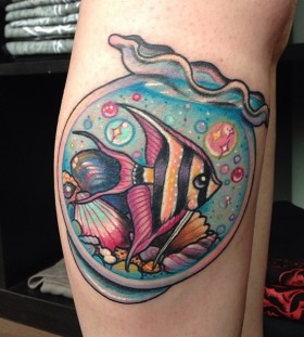 Gold fish bubbles tattoo