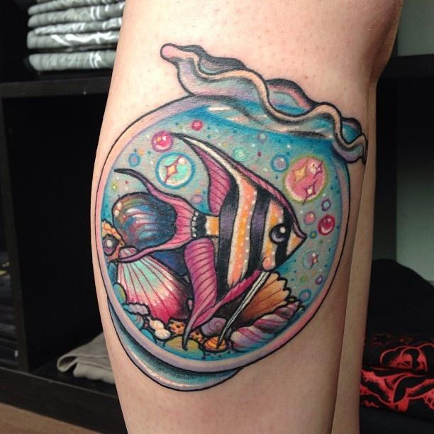 Gold fish bubbles tattoo