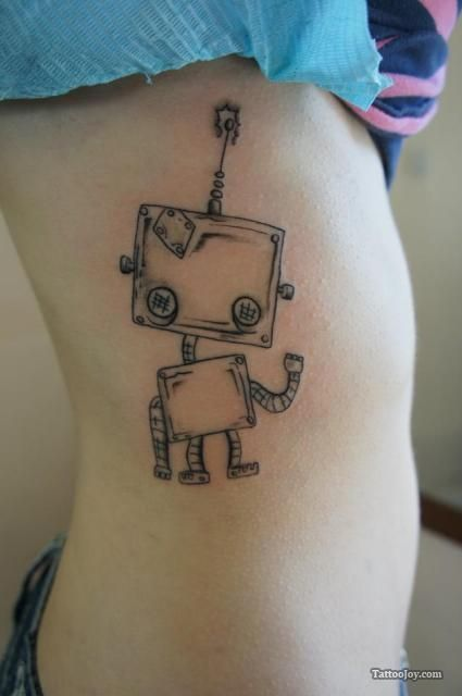 Colorful robbots tattoos