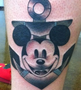 Gorgeous black Mickey Mouse tattoo on leg