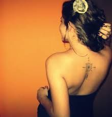 Gorgeous simple compass tattoo on back