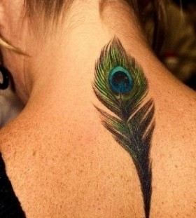 Green back peacock tattoo
