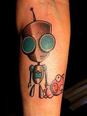 Green eyes robbot tattoo