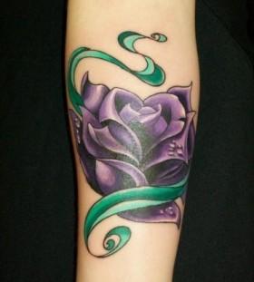 Green leaf realistic purple tattoos