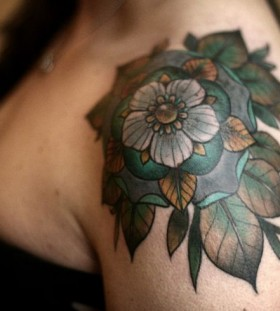 Green leafs flower geometric shoulder, back tattoo