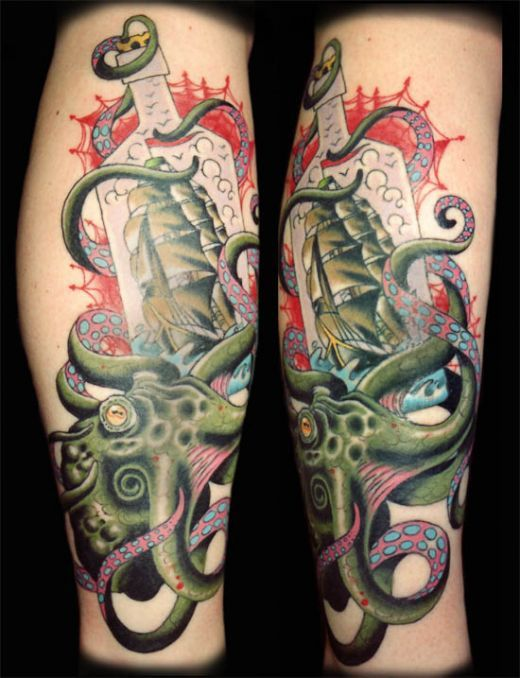 Green ship and octopus tattoo on leg