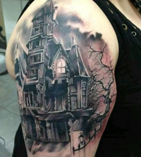 Hunted black house tattoo