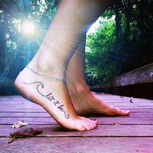 Let it be sun and girl tattoo on foot
