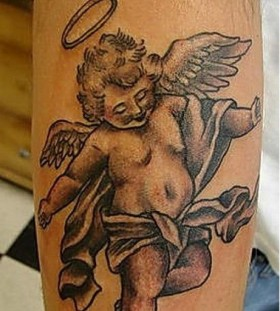 Little boy angel tatoo on arm