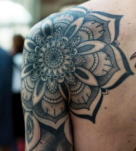 Lovely black geometric shoulder, back tattoo