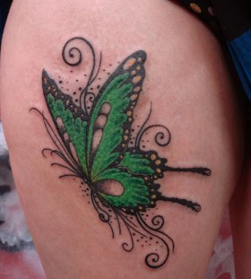 Lovely butterfly green tattoo