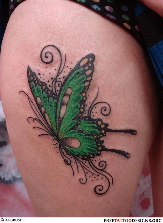 Lovely butterfly green tattoo