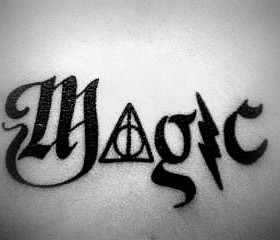 Magic black Harry Potter tattoo