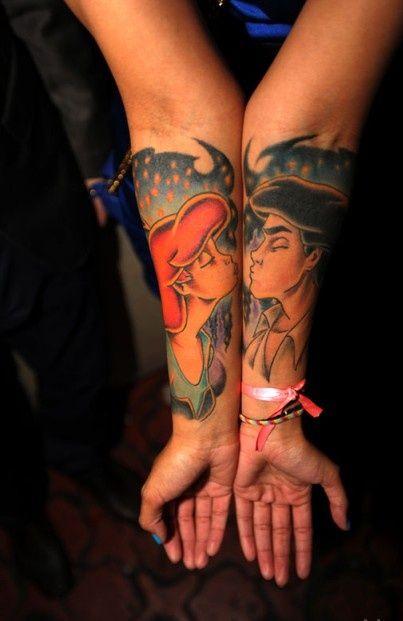 Men's and girl's mermaid tattoo