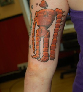 Orange funny robbot tattoo