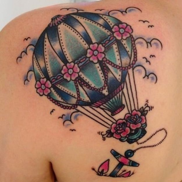Pink and blue balloon tattoo