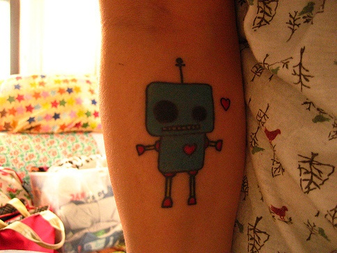 Pretty green robbot tattoo