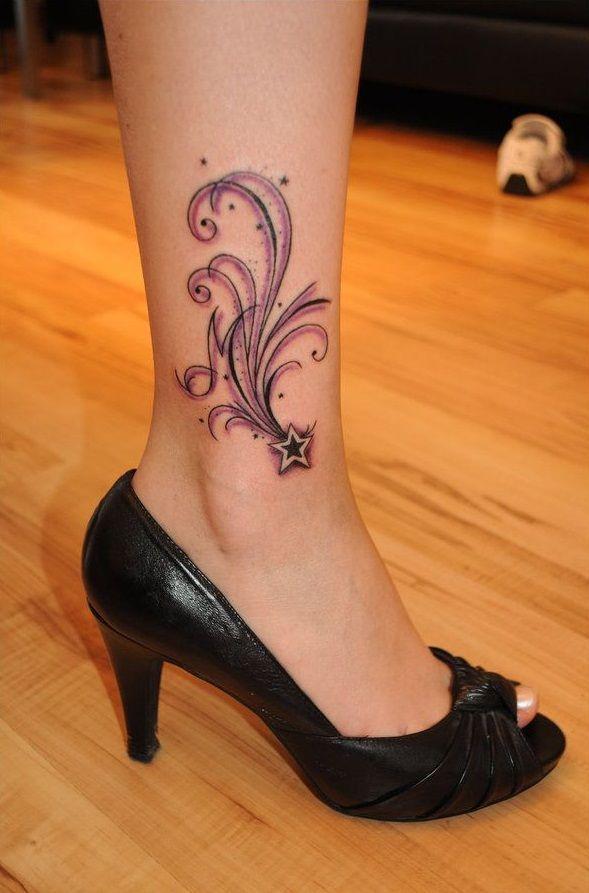 Purple black girl tattoo on foot