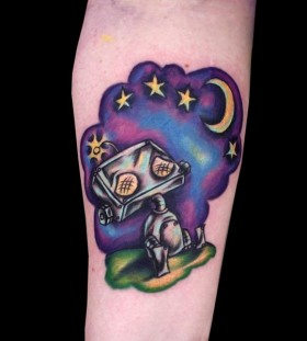 Purple stars and moon robbot tattoo