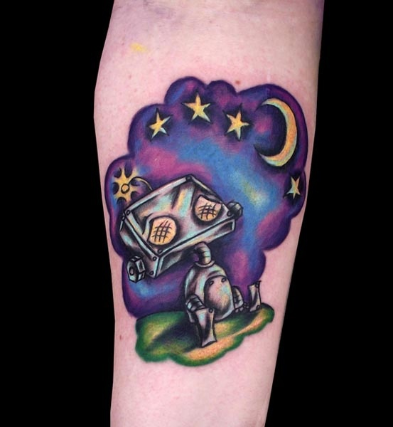 Purple stars and moon robbot tattoo