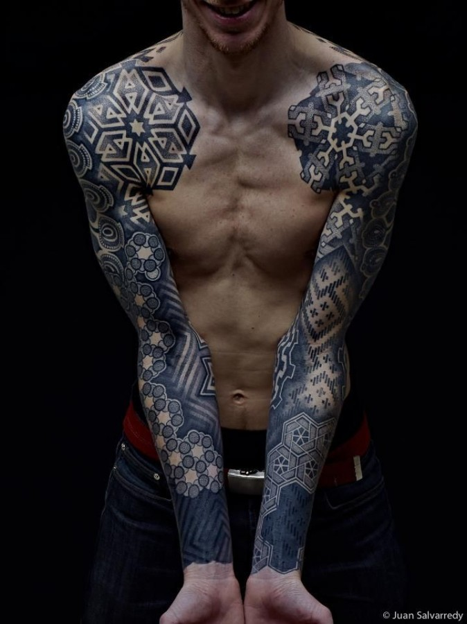 Puzzles style geometric shoulder, back tattoo