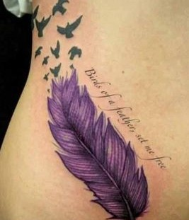 Quote and feather purple tattoos