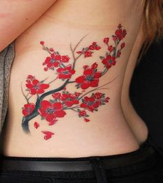 Red and black tree chinese style tattoo