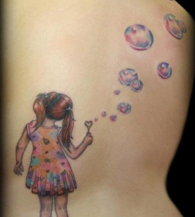 Red and blue bubbles tattoo