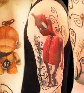 Red and yellow robbot tattoo