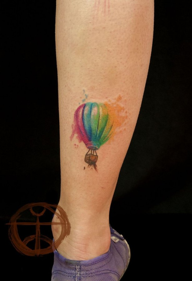 Red, blue, green colors balloon tattoo