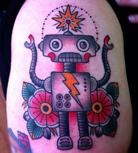 Red flowers robbot tattoo