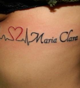 Red heart style tattoo by Marilia Pontes