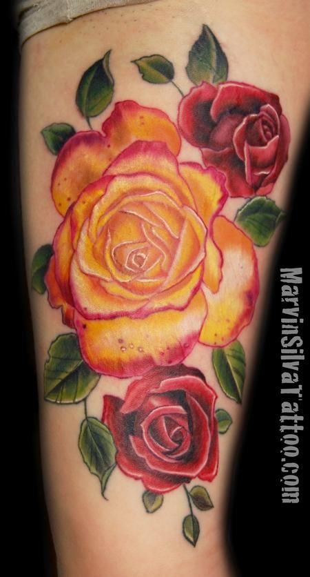 Red rose and yellow tattoo