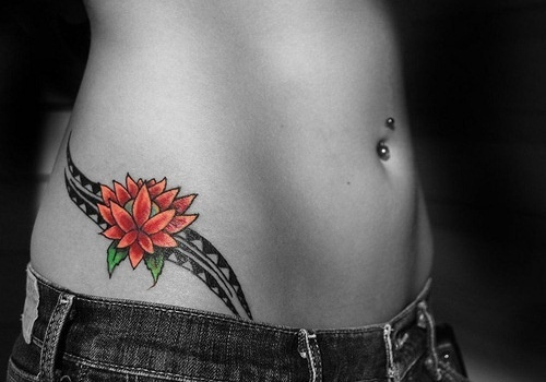 Red simple flower girl tattoo on hip