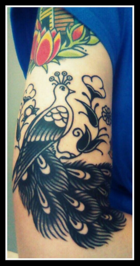 Red peacock tattoo - photo#9