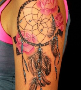 Rose lovely dreamcatcher tattoo