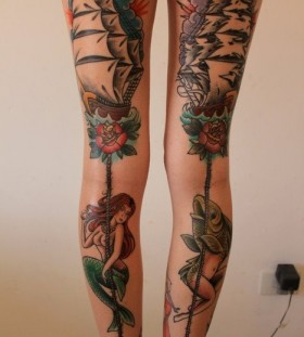 Ship, roses and leg's mermaid tattoo
