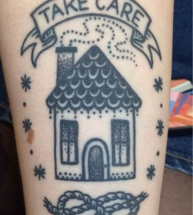 Simple black house tattoo